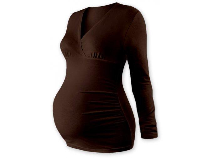 Těhotenská tunika s dlouhým rukávem - Agáta hnědá
