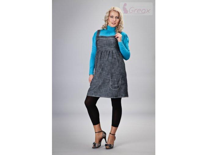 Těhotenské šaty - Jeans granátový melír