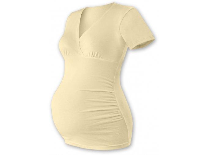 Těhotenská tunika s krátkým rukávem - Agáta caffé latté, vel. M/L a L/XL