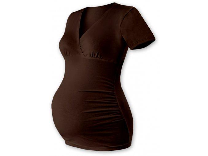 Těhotenská tunika s krátkým rukávem - Agáta hnědá