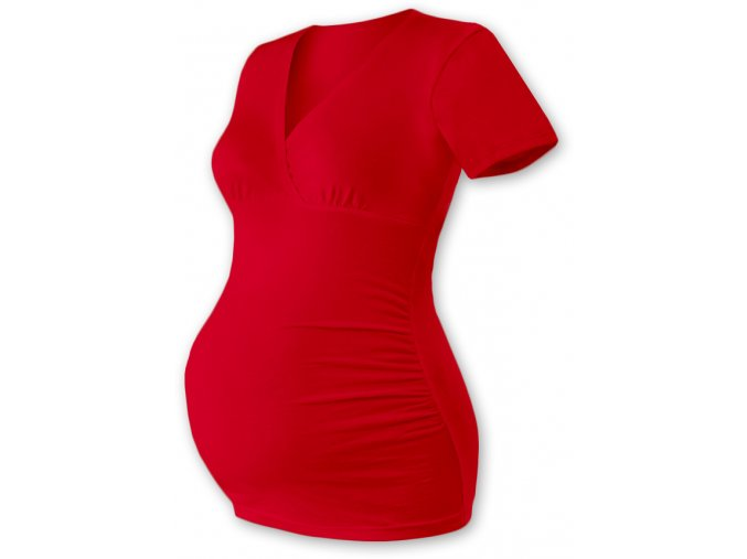 Těhotenská tunika s krátkým rukávem - Agáta červená