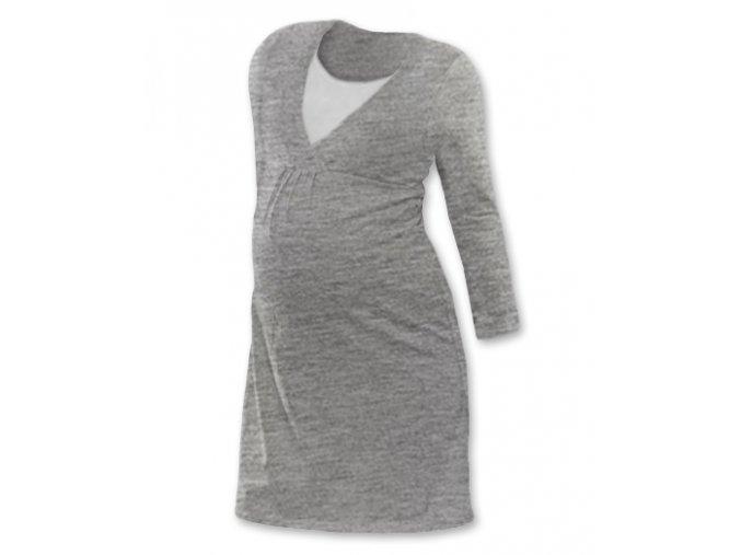 Těhotenská a kojící noční košile s dlouhým rukávem - Lucie šedý melír