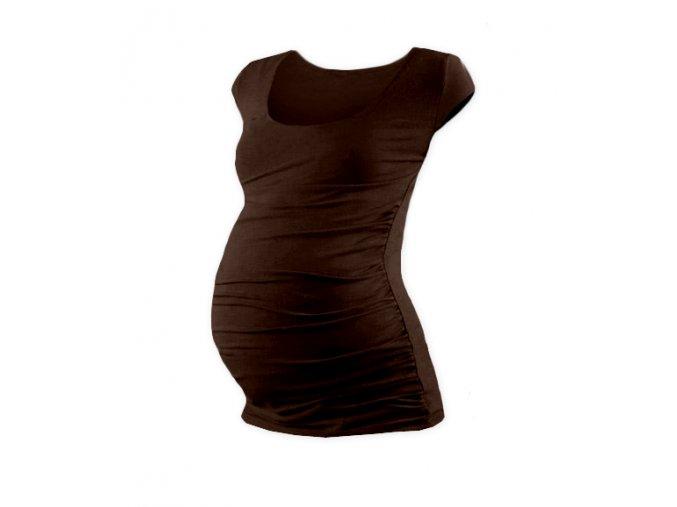 Těhotenské tričko s mini rukávem - Lili hnědá
