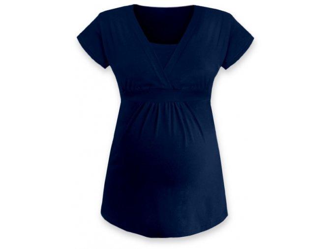 Kojící a těhotenská tunika s krátkým rukávem - Anička tm. modrá
