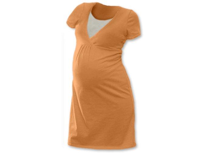 Těhotenská a kojící noční košile - Lucie sv. oranžová