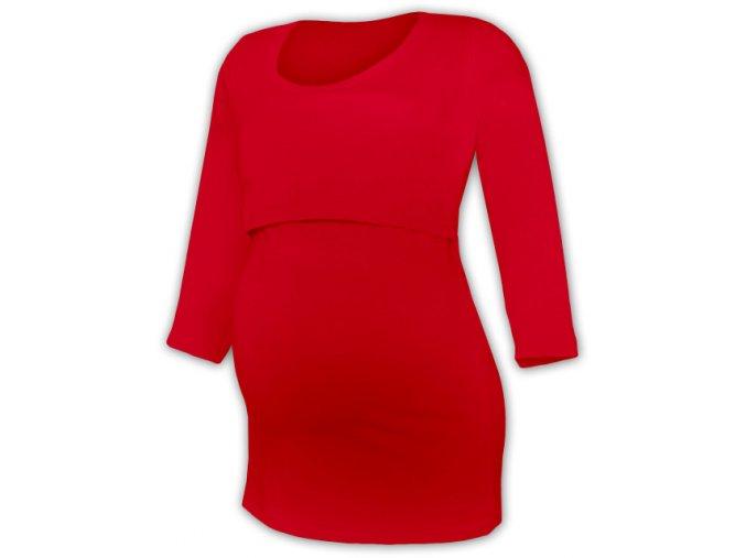 Kojící a těhotenské tričko se 3/4 rukávem - Zoe červená