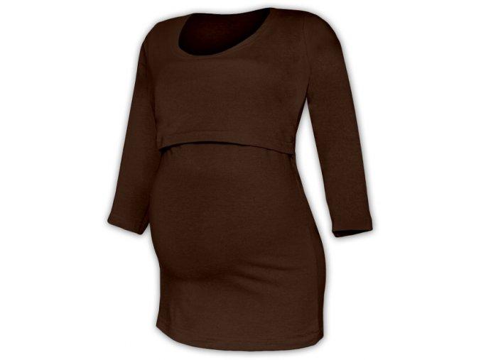 Kojící a těhotenské tričko se 3/4 rukávem - Kateřina hnědá, vel. L/XL