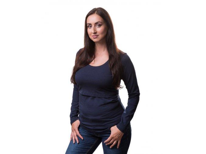Kojící a těhotenské tričko s dlouhým rukávem - Kateřina tm. modrá