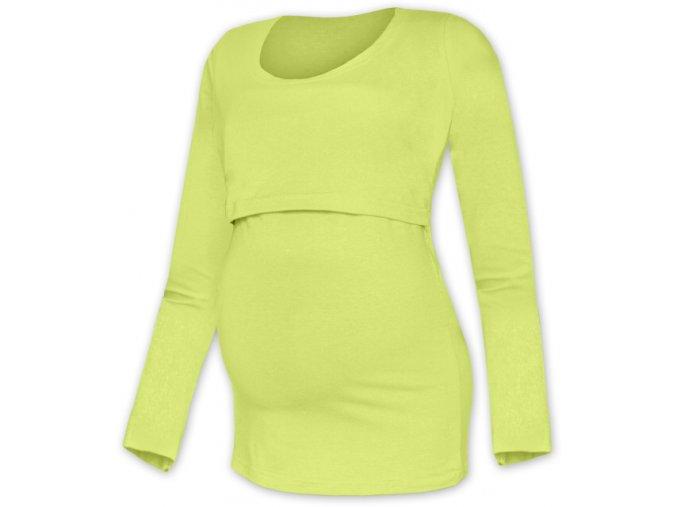 Kojící a těhotenské tričko s dlouhým rukávem - Kateřina sv. zelená