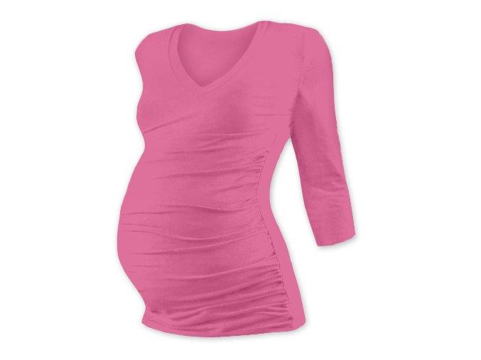 Těhotenské tričko se 3/4 rukávem - Lili V růžová, vel. M/L a L/XL