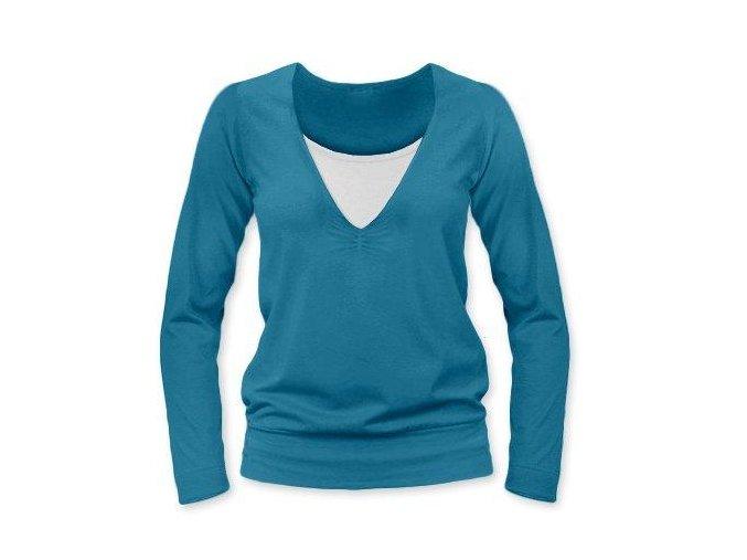 Kojící tričko s dlouhým rukávem - Karla petrolejová