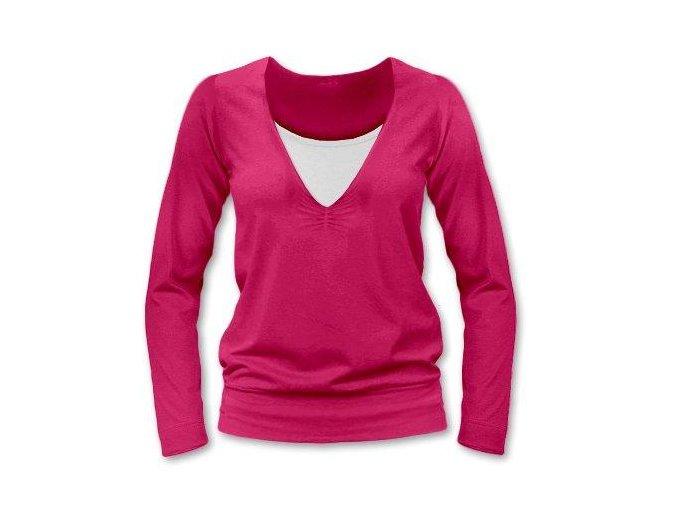 Kojící tričko s dlouhým rukávem - Karla tm. růžová