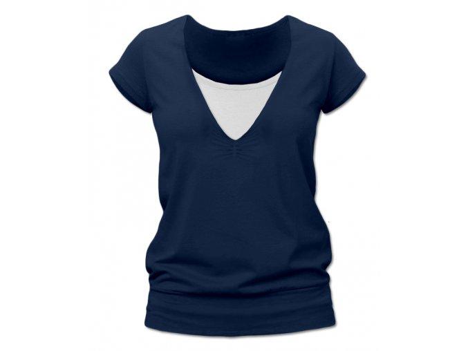 Kojící tričko s krátkým rukávem - Karla tm. modrá