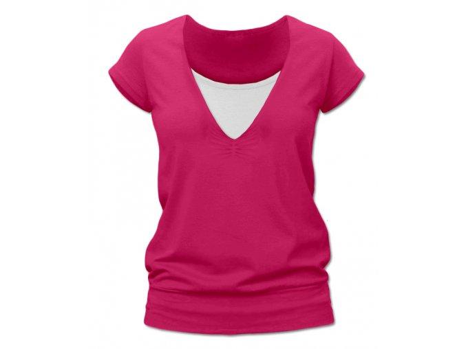 Kojící tričko s krátkým rukávem - Karla tm. růžová