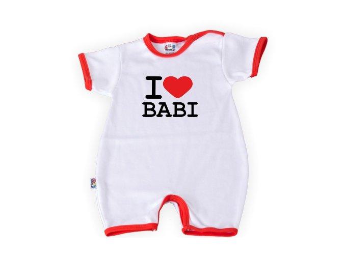 Body s krátkým rukávem a nohavičkami - I love babi