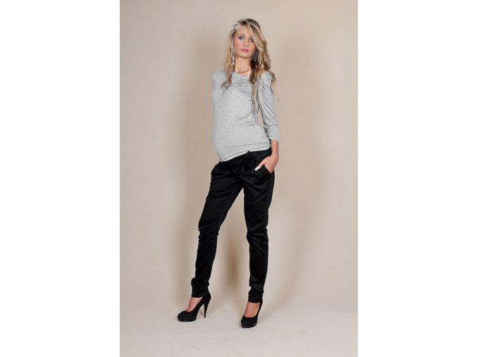Těhotenské kalhoty s mašlí - černé, vel. S