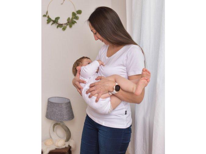Kojící a těhotenské tričko s krátkým rukávem - Zoe bílá