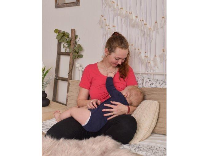 Kojící a těhotenské tričko s krátkým rukávem - Kateřina lososově růžová