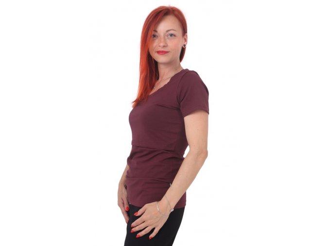 Kojící a těhotenské tričko s krátkým rukávem - Kateřina bordó