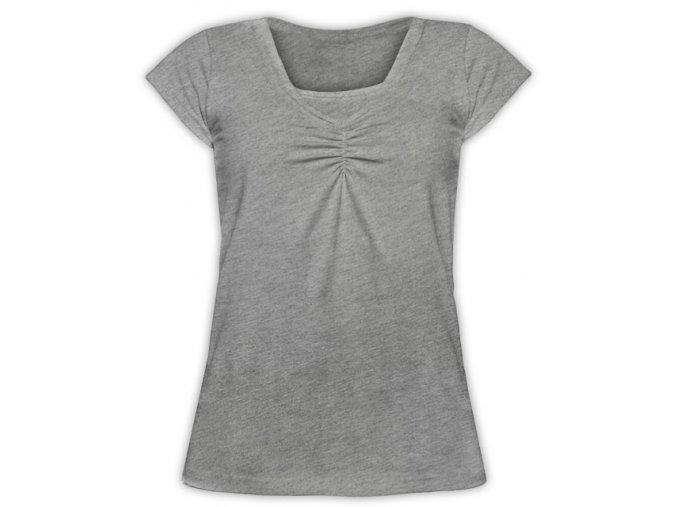 Kojící tričko s krátkým rukávem - Klaudie šedý melír