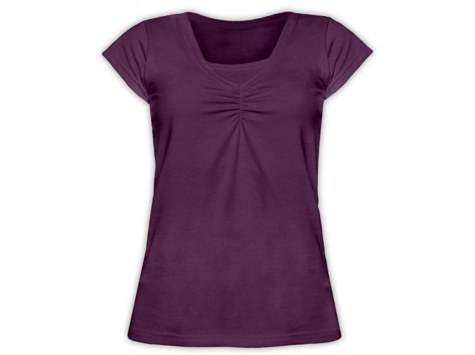 Kojící tričko s krátkým rukávem - Klaudie švestková