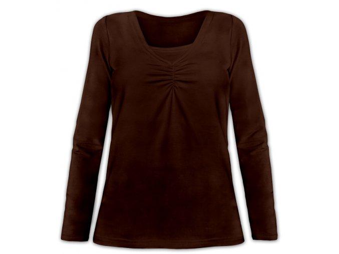 Kojící tričko s dlouhým rukávem - Klaudie hnědá, vel. S/M a L/XL