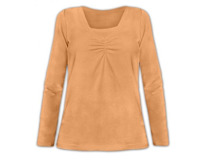 Kojící tričko s dlouhým rukávem - Klaudie sv. oranžová, vel. M/L a L/XL