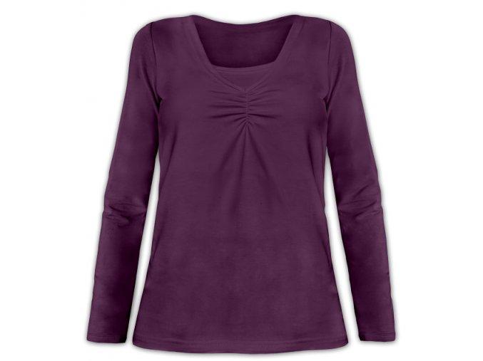 Kojící tričko s dlouhým rukávem - Klaudie švestková