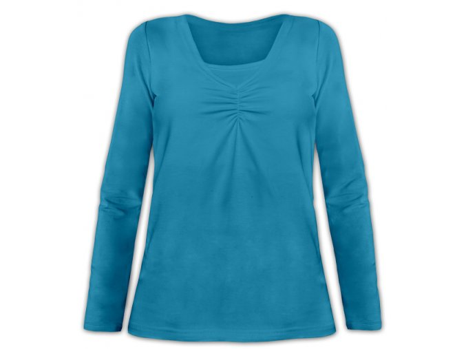 Kojící tričko s dlouhým rukávem - Klaudie petrolejová