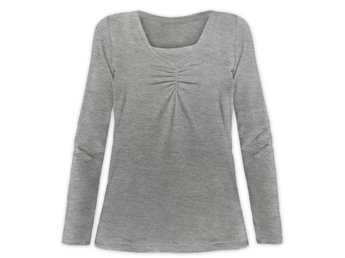 Kojící tričko s dlouhým rukávem - Klaudie šedý melír