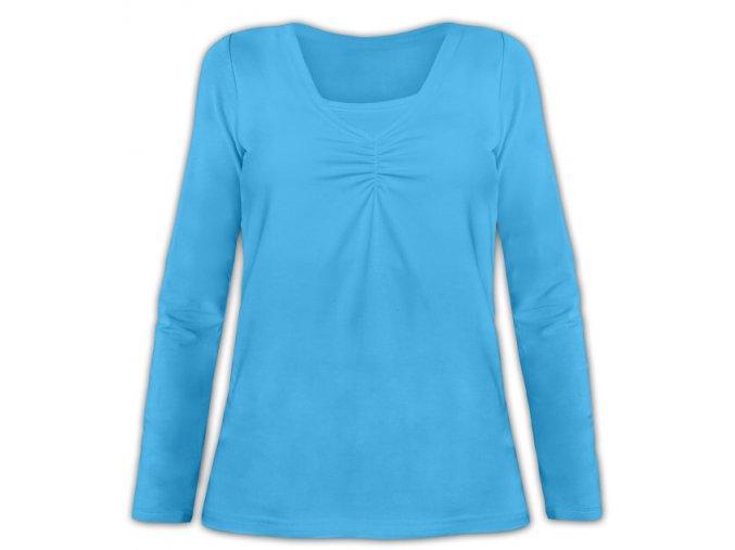 Kojící tričko s dlouhým rukávem - Klaudie tyrkysová, vel. M/L a L/XL