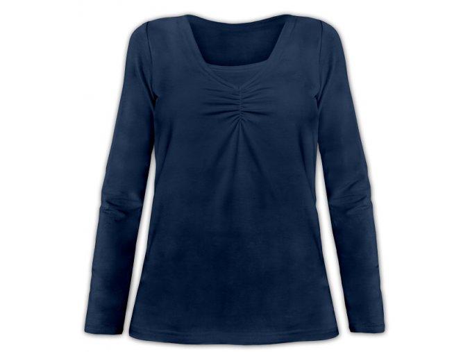 Kojící tričko s dlouhým rukávem - Klaudie tm. modrá