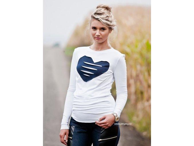 Těhotenské tričko/halenka s dlouhým rukávem - Heart bílá