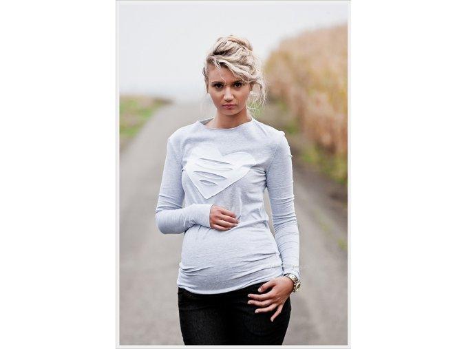 Těhotenské tričko/halenka s dlouhým rukávem - Heart šedá