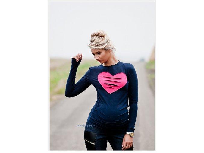 Těhotenské tričko/halenka s dlouhým rukávem - Heart granát