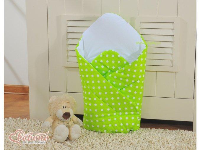 Zavinovačka - Srdíčka zelená s puntíčky