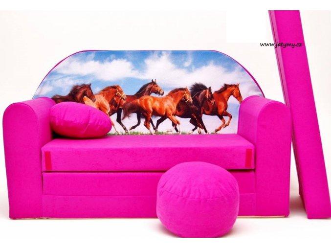 Rozkládací pohovka - Koně růžová