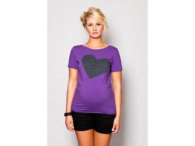 Těhotenské tričko/halenka s krátkým rukávem - Heart fialová