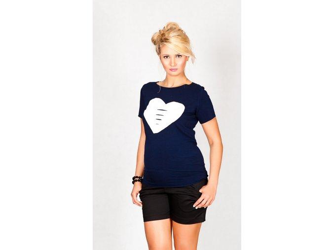 Těhotenské tričko/halenka s krátkým rukávem - Heart granátová