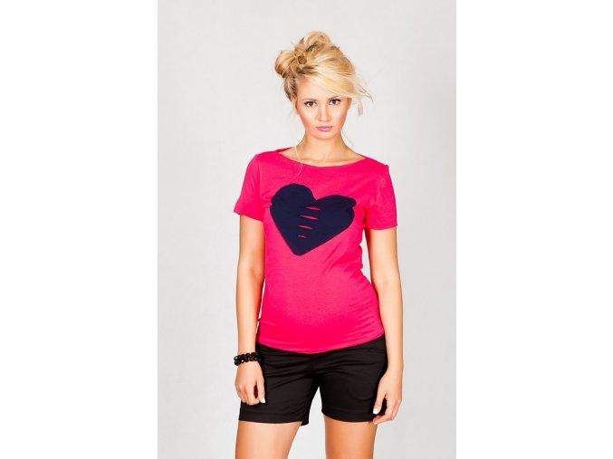 Těhotenské tričko/halenka s krátkým rukávem - Heart růžová