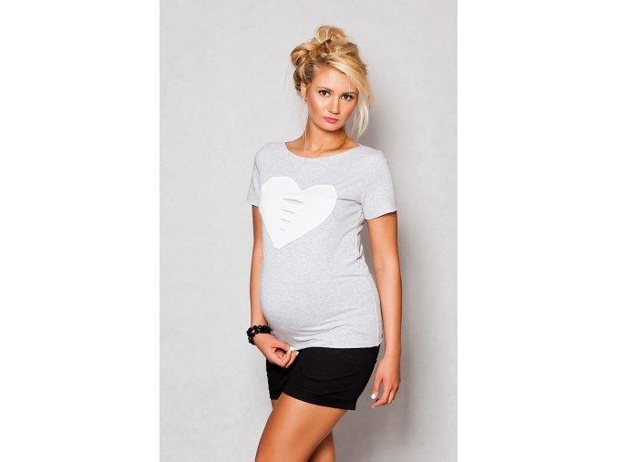 Těhotenské tričko/halenka s krátkým rukávem - Heart sv. šedá