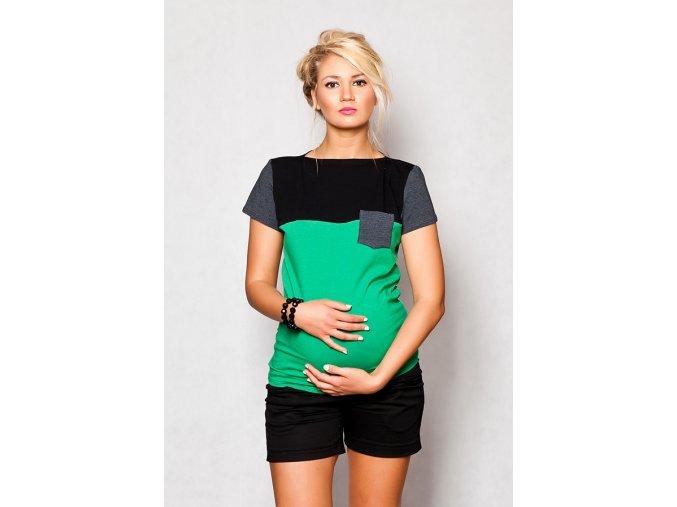 Těhotenské tričko/halenka s krátkým rukávem - Anna zelená