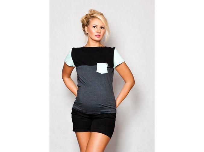 Těhotenské tričko/halenka s krátkým rukávem - Anna grafit