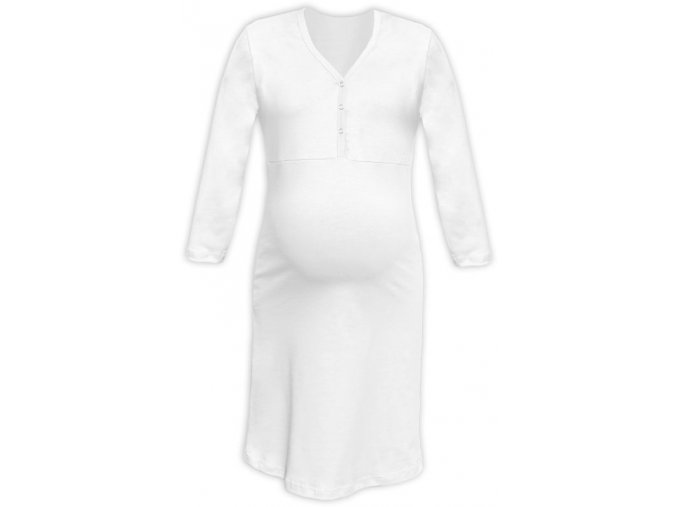 Těhotenská/kojící noční košile se 3/4 rukávem - Cecilie bílá