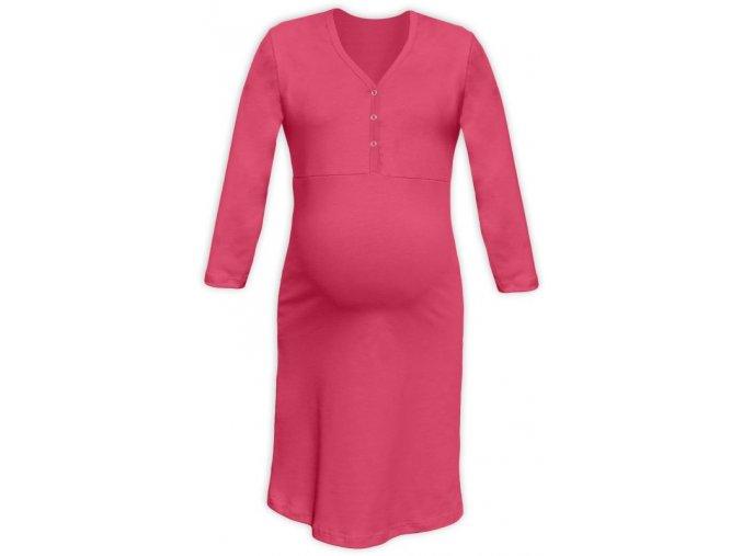 Těhotenská/kojící noční košile se 3/4 rukávem - lososově růžová