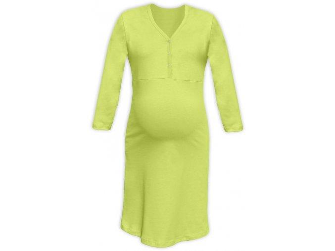 Těhotenská/kojící noční košile se 3/4 rukávem - sv. zelená