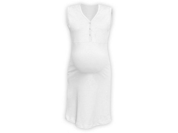 Těhotenská/kojící noční košile bez rukávů - bílá
