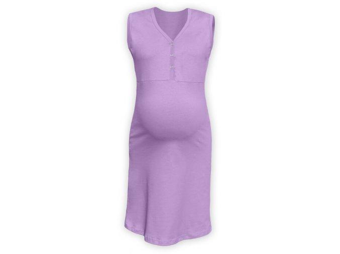 Těhotenská/kojící noční košile bez rukávů - Cecilie levandulová