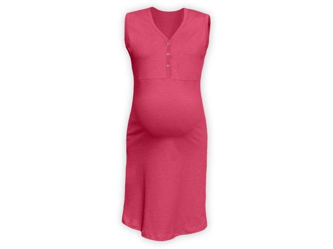 Těhotenská/kojící noční košile bez rukávů - lososově růžová