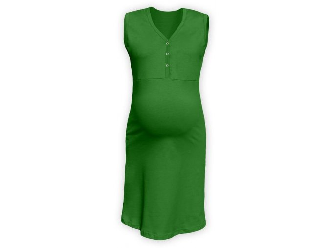 Těhotenská/kojící noční košile bez rukávů - Cecilie tm. zelená, vel. L/XL